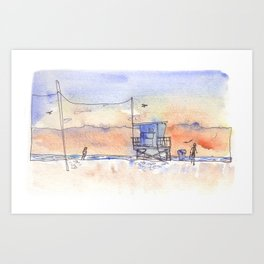 Sunset in Santa Monica Art Print