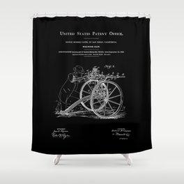 Machine Gun Patent - Black Shower Curtain