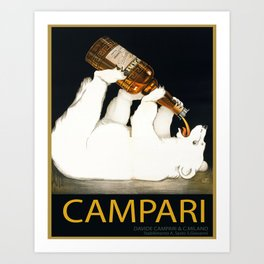 Vintage 1928 Campari Polar Bear Alcoholic Bitters Advertisement by Franz Laskoff Art Print