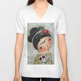 Frida and her sugar skull Unisex V-Neck