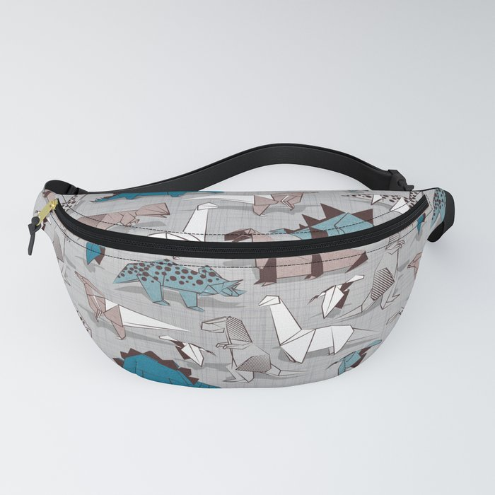 Origami dino friends // grey linen texture blue dinosaurs Fanny Pack