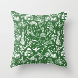 Arabian Nights // Parsley Green Throw Pillow