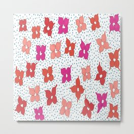 Celebration Flowers and Dots Metal Print
