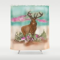 elk Shower Curtains featuring Elk by Hollyce Jeffriess Designs