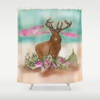 elk Shower Curtains featuring Elk by Hollyce Jeffriess Designs