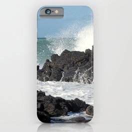 The waves of the Jeju sea crashing on the rocks , Jeju Island, Korea. iPhone Case