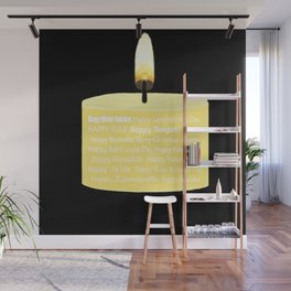 Happy Holidays Candle Wall Mural