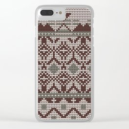 Christmas knitted pattern vector illustration of a seamless blue, red and white background Clear iPhone Case