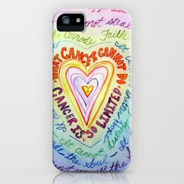 Rainbow Heart Colorful What Cancer Cannot Do Poem iPhone Case