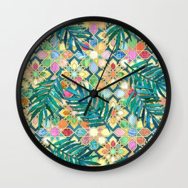 Gilded Moroccan Mosaic Tiles with Palm Leaves Wall Clock