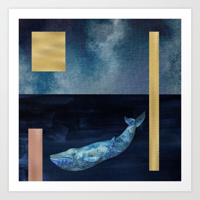Blue Whale - Gold, Copper And Deep Blue Art Print