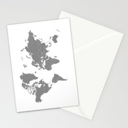 Minimalist World Map Gray on White Background Stationery Cards