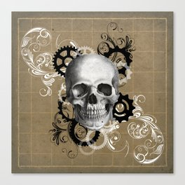 Skull With Gears and Floral Ornaments Canvas Print