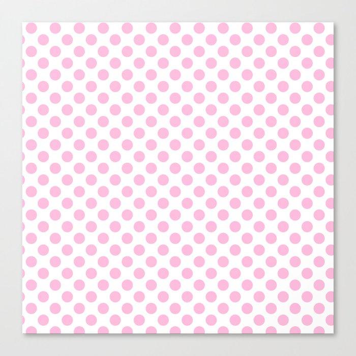 Pink polkadots on white pattern Canvas Print