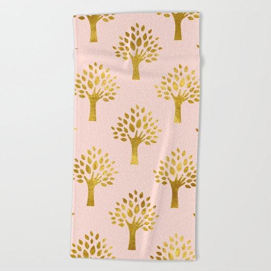 Pink Gold Foil 02 Beach Towel