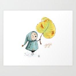 Goji and the leaf Art Print