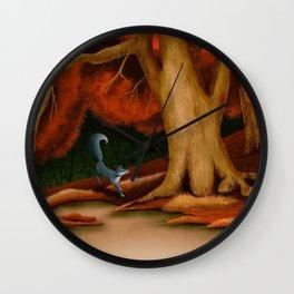 Blue Fox at The Dark Pool of Malkkaard Wall Clock