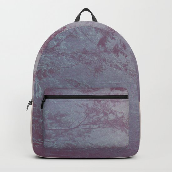 Forest Fog - Snowy Mountain Trees at Sunset Backpack