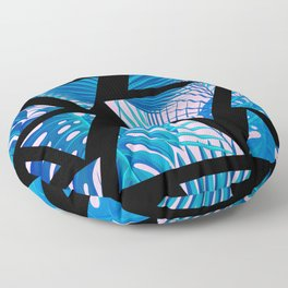 Geometrical black pink navy blue watercolor tropical leaves Floor Pillow