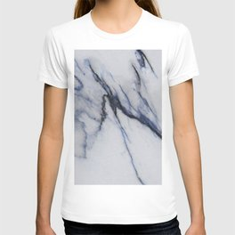 White Marble with Black and Blue Veins T-shirt