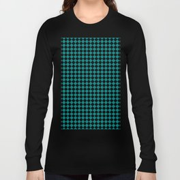 Black and Teal Green Diamonds Long Sleeve T-shirt