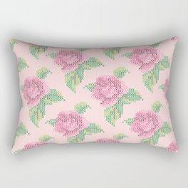 Cross Stitch Rose Pattern in pink Rectangular Pillow