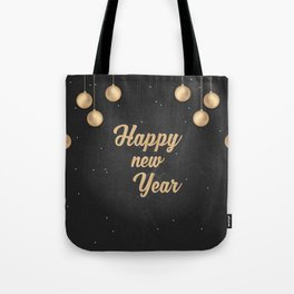 Happy holiday, Christmas sign with snow flake and christmas decoration on the red background Tote Bag