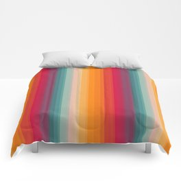Retro Rainbow Striped Pattern Comforters