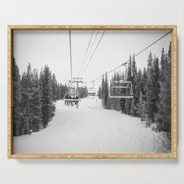 Ski Chair Lift B&W \\ Deep Snow Season Pass Dreams \\ Snowy Winter Mountains Landscape Photography Serving Tray