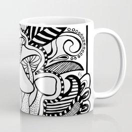 Mushrooms outline black and white drawing Coffee Mug