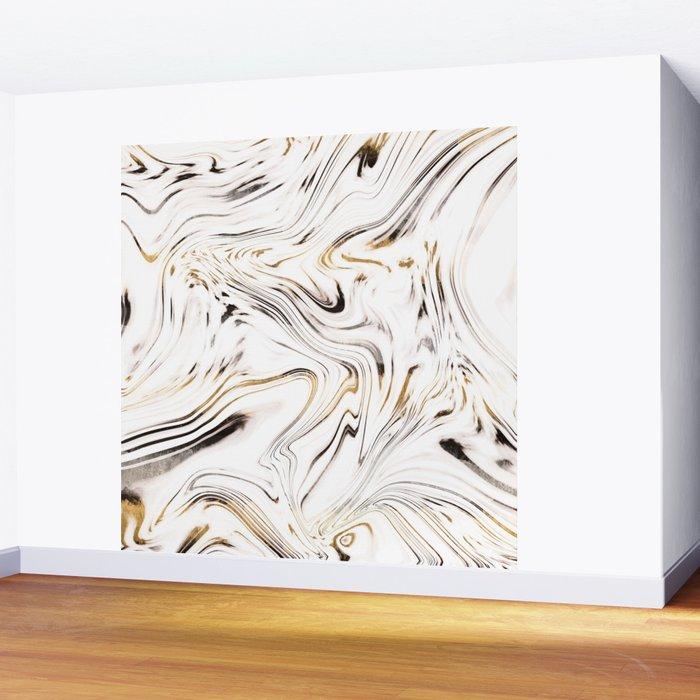 Liquid Gold Silver Black Marble #1 #decor #art #society6 Wall Mural