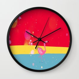Flamingo at the beach Wall Clock