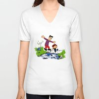 calvin hobbes V-neck T-shirts featuring Little Viking and Strong Man ('Calvin and Hobbes' / 'Pete and Pete' parody) by PeterParkerPA