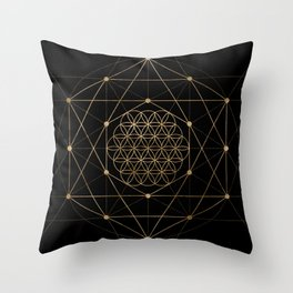 Flower of Life Black and Gold Throw Pillow