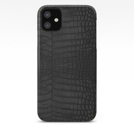Black Crocodile Leather Print iPhone Case