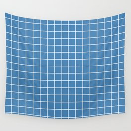Steel blue - blue color - White Lines Grid Pattern Wall Tapestry