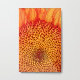 Firey Autumn Sunflower Metal Print