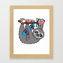 Skater Sloth and the donuts rain Framed Art Print