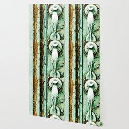 Green Door Handle, Peeling Turquoise Paint, Rusty Door Wallpaper