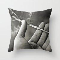 les mis Throw Pillows featuring En mis manos by unaciertamirada
