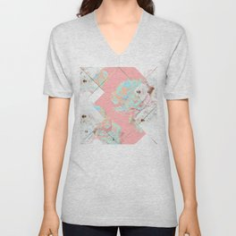 Abstract Blush Geometric Peonies Flowers Design Unisex V-Neck