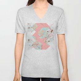Abstract Blush Geometric Peonies Flowers Design Unisex V-Neck