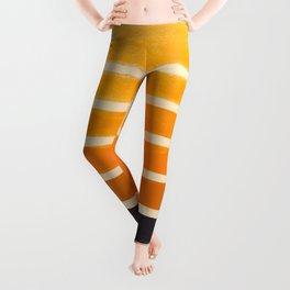 Yellow Ocher Mid Century Pattern Leggings