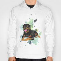 rottweiler Hoodies featuring Rottweiler happy by Cami Landia