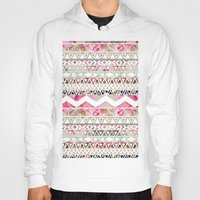 preppy Hoodies featuring Aztec Spring Time! | Girly Pink White Floral Abstract Aztec Pattern by Girly Trend