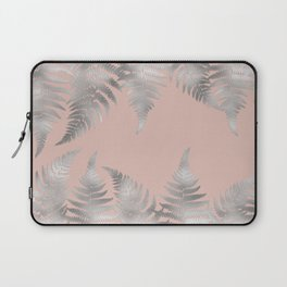 Silver fern leaves on rosegold background - abstract pattern Laptop Sleeve
