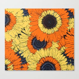 Abstracted Orange Yellow Deco Sunflowers Canvas Print
