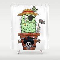 luffy Shower Curtains featuring Cactus Luffy by Vania Pietronigro