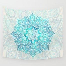 Turquoise Lace Mandala Wall Tapestry