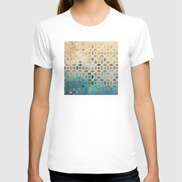 Exotic Gold Moroccan Geometric Pattern on Blue Background T-shirt
